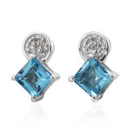AA Swiss Blue Topaz and Natural Cambodian Zircon Earrings (with Push Back) in Platinum Overlay Sterl