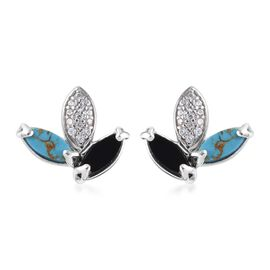 GP - Boi Ploi Black Spinel, Mojave Blue Turquoise and Multi Gemstone Stud Earrings (with Push Back)