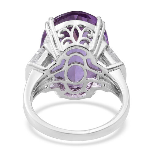 Rose De France Amethyst (Ovl 15.90 Ct), Natural White Cambodian Zircon Ring in Rhodium Plated Sterling Silver 17.640 Ct. Silver wt 5.71 Gms.