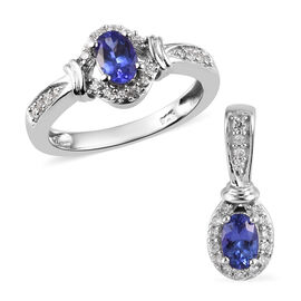 2 Piece Set - Tanzanite and Natural Cambodian Zircon Ring and Pendant in Platinum Overlay Sterling S