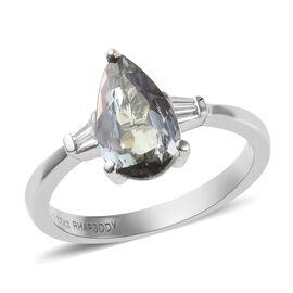 RHAPSODY 950 Platinum AAAA Peacock Tanzanite (Pear), Diamond (VS/E-F) Ring  1.70 Ct.