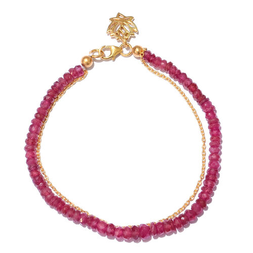 African Ruby (Rnd) Bracelet (Size 7.5) with Lotus Charm in Yellow Gold Overlay Sterling Silver 27.200 Ct.