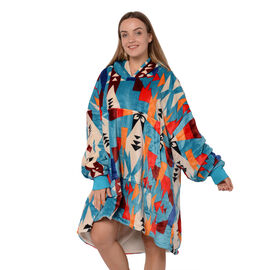 Tribal Pattern Flannel Blanket Hooded Sweatshirt (Size 85x90cm) with Long Sleeves - Sky Blue, Cream
