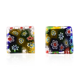 Multi Colour Murano Style Glass Cufflinks in Stainless Steel