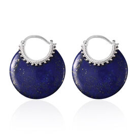 One Time Deal- Lapis Lazuli Hoop Earrings (with Clasp) 47.50 Ct.