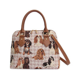 SIGNARE - Tapastry Collection - Cavalier King Charles Top-Handle Shoulder Bag with Removable Strap ( 36 x 23 x 12.5 Cms)
