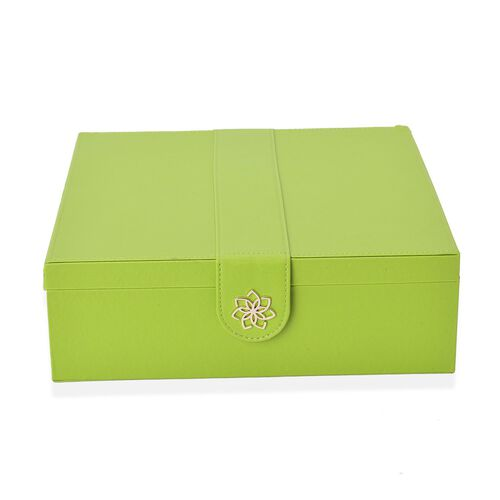Green Colour 2 Layer Jewellery Box with Black Velvet and Mirror Inside (Size 29X28X9.5 Cm)