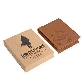 MCS Country Classics: 100% Genuine Leather Bi Folded Branded Mens Wallet - Cognac
