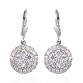 J Francis - Platinum Overlay Sterling Silver Drop Lever Back Earrings Made with SWAROVSKI ZIRCONIA 3