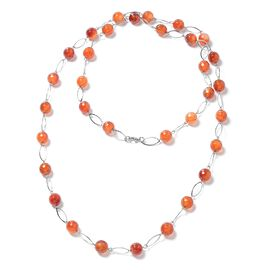 Red Agate (11-13 mm) Beads Necklace (Size 44) in Stainless Steel   330.000 Ct.