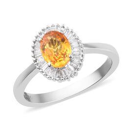 RHAPSODY 950 Platinum AAAA Yellow Sapphire and Diamond (VS/E-F) Halo Ring 1.30 Ct, Platinum Wt. 4.54