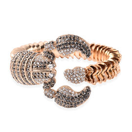 Hematite Colour Crystal and White Austrian Crystal Scorpion Bangle in Gold Tone 7 Inch