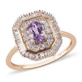 9K Yellow Gold  Pink Tanzanite, White Diamond Main Stone With Side Stone Ring in Rhodium Overlay 0.1