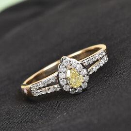 9K Yellow Gold Natural Yellow Diamond and White Diamond Ring 0.50 Ct.