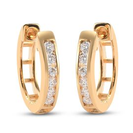 Moissanite Hoop Earrings in 14K Gold Overlay Sterling Silver