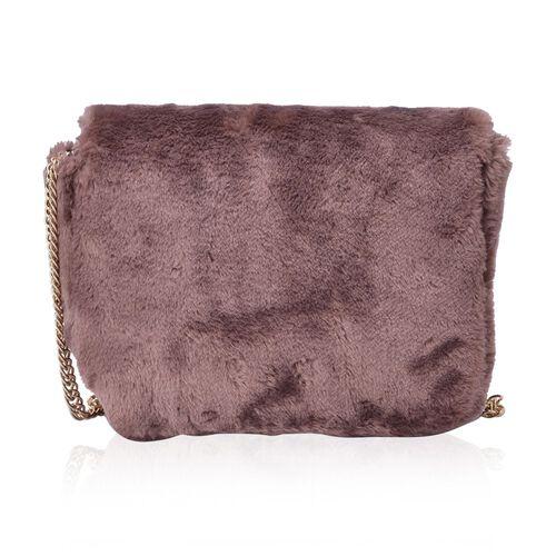 Faux Fur Chocolate Colour Crossbody Bag with Chain Strap (Size 24x19x10 Cm)