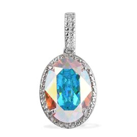J Francis Swarovski Crystal and Diamond Halo Pendant in Platinum Plated