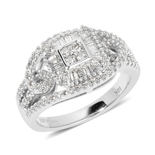 New York Close Out Deal- 9K White Gold Diamond (Rnd) (I1-I2) Ring 0.500  Ct.