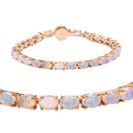 Wegeltena Ethiopian Opal (8.75 Ct) and Diamond 14K Gold Overlay Sterling Silver Bracelet (Size 7)  8.755  Ct.