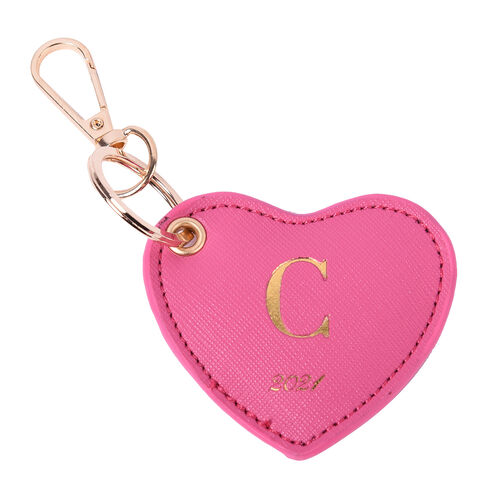 Pink Genuine Leather Heart Shaped Initial C Key Chain (7x6cm)
