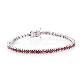 AAA  African Ruby (Rnd) Tennis Bracelet (Size 7.5) in Platinum Overlay Sterling  Silver 8.000 Ct, Silver wt 9.60 Gms