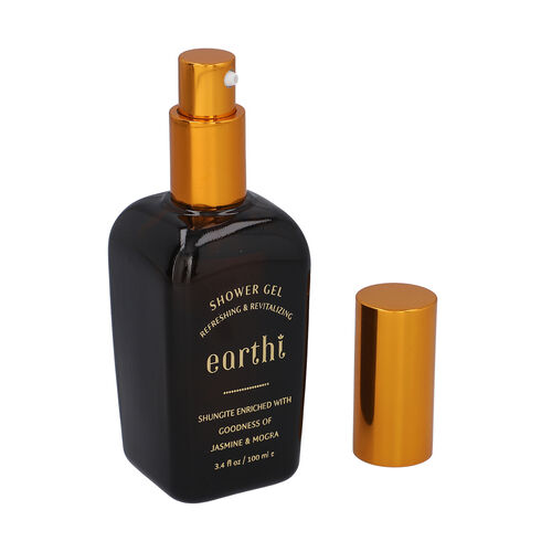 Shungite Enriched Earthi Jasmine and Mogra Bath & Body Shower Gel with Complementary Almond and Saffron Body Lotion (100ml+50ml)