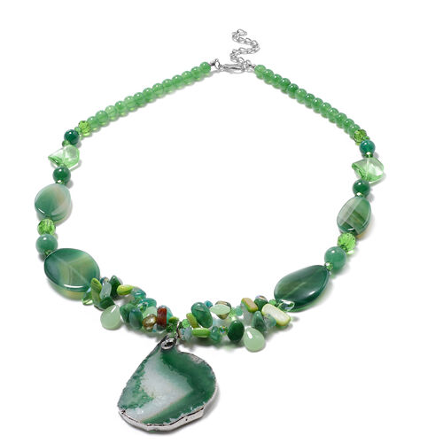Green Shell, Green Quartzite, Green Agate, Simulated Emerald and Green Magic Colour Beads Necklace (