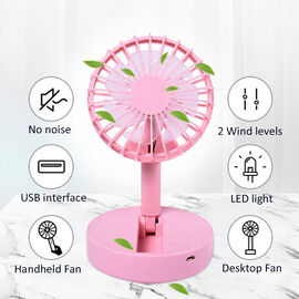 Foldable and Adjustable Mini Fan with 2 Wind Speed Settings (Size:9x9x16cm) - Pink