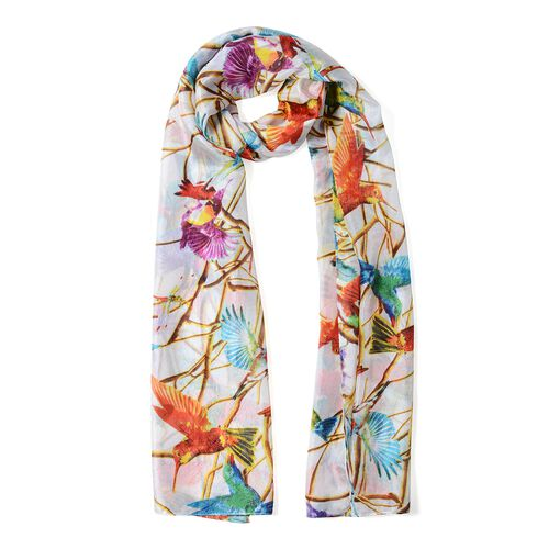 Designer Inspired- 100%  Mulberry Silk White and Multi Colour Bird Pattern Scarf (Size 175x53 Cm)