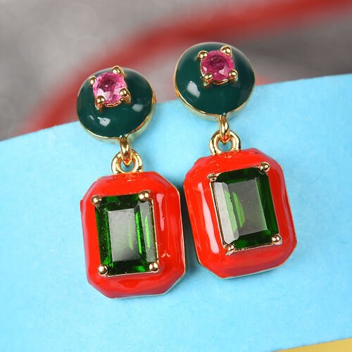 GP - Russian Diopside, African Ruby and Blue Sapphire Enamelled Drop Earrings (with Push Back) in 14K Gold Overlay Sterling Silver 2.20  Ct, Silver wt 5.00 Gms