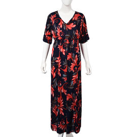 Leaves Pattern V-neck Summer Dress (Size 60x125 Cm) - Navy, Red and Multi
