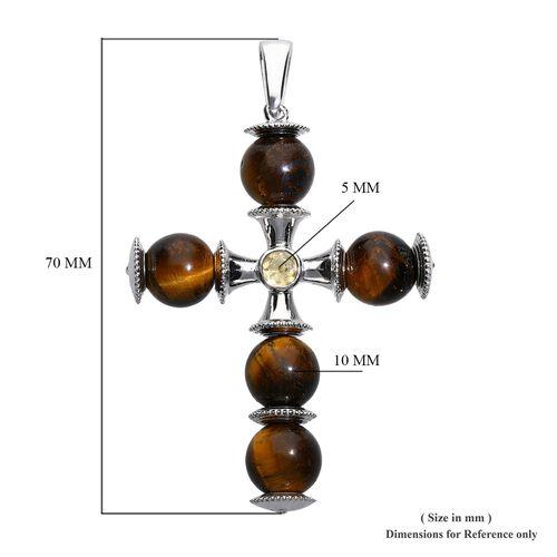 Tigers Eye (Rnd), Citrine Cross Pendant in Platinum Plated 40.50 Ct.