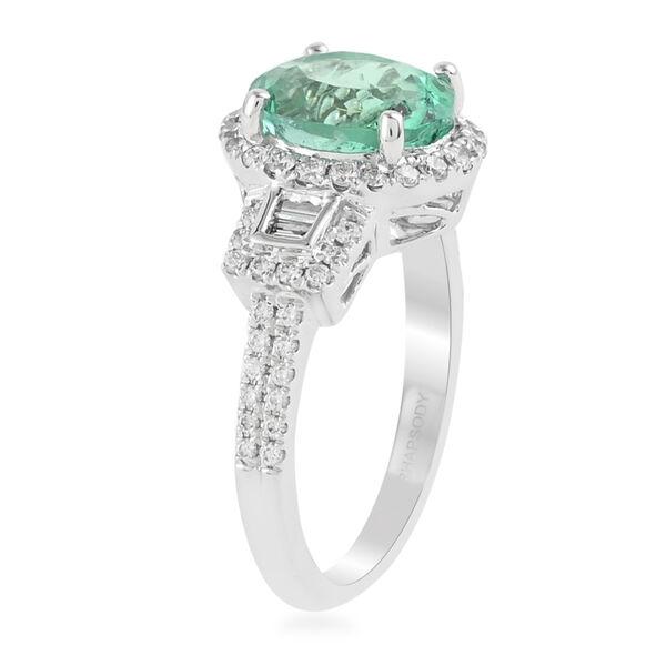 RHAPSODY 950 Platinum AAAA Boyaca Colombian Emerald and Diamond (VS/E-F) Ring 3.15 Ct, Platinum wt. 6.49 Gms