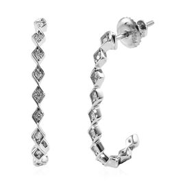 RHAPSODY 950 Platinum IGI Certified Diamond (Rnd) (VS/E-F) J Hoop Earrings (with Screw Back) 0.20 Ct