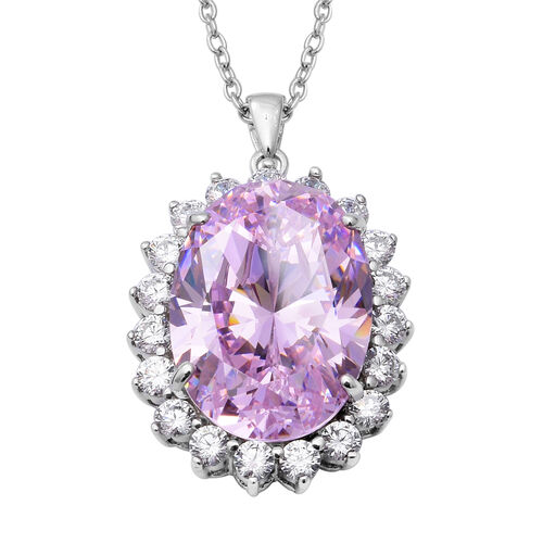 ELANZA Simulated Pink Diamond Halo Pendant with Chain in Silver 18.70 Grams 30 Inch