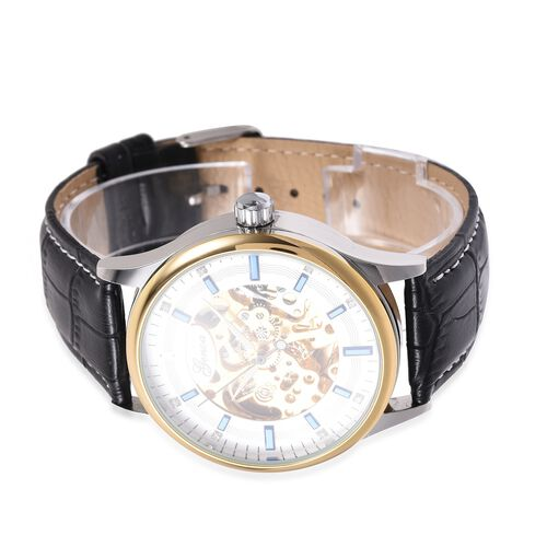 GENOA  Automatic White Austrian Crystal Studded Skeleton Water Resistant Watch with Black Leather Strap