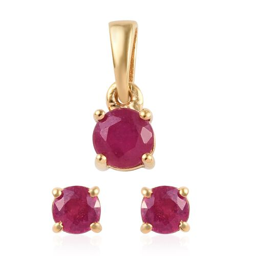 2 Piece Set - African Ruby (Rnd) Solitaire Pendant and Stud Earrings (with Push Back) in 14K Yellow