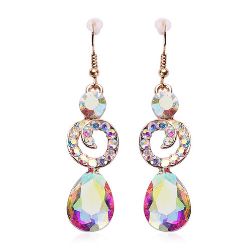 2 Piece Set - Simulated Mercury Mystic Topaz and Simulated White Mystic Crystal Necklace (Size 20 with 2 inch Extender) and Hook Earrings in Gold Tone