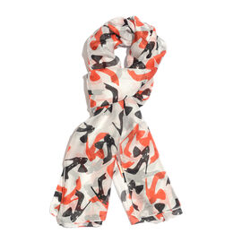 100% Mulberry Silk Off White, Red and Multi Colour High Heel Handscreen Printed Scarf (Size 180x100