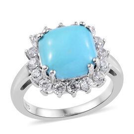 Arizona Sleeping Beauty Turquoise (Cush 3.25 Ct), Natural Cambodian Zircon Ring in Platinum Overlay