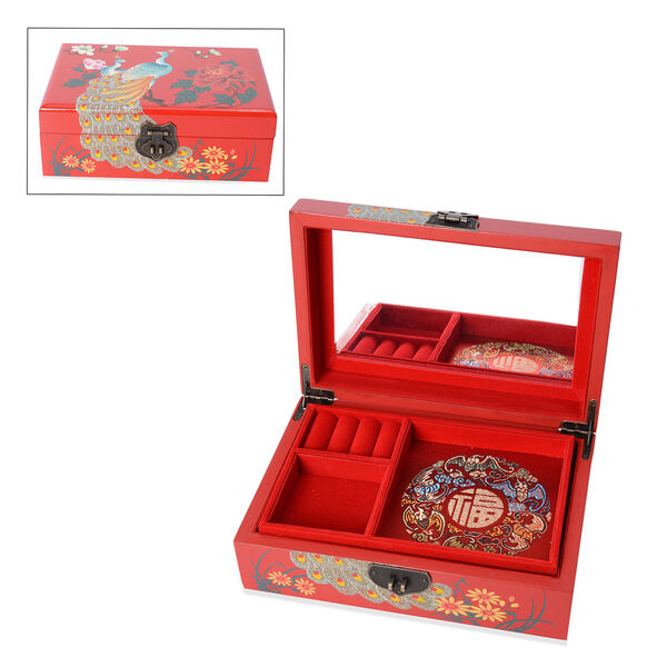 2 - Layer Peacock Pattern Jewellery Box with Inside Mirror and Removable Tray (Size 21x14x7.5 Cm) -
