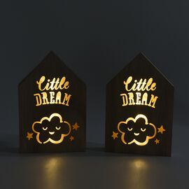 Set of 2 - Wooden Decorative Little Dream Cloud Pattern Frame Light (Size 20x13x2.8 Cm) - Burlywood