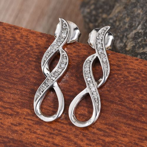 Diamond (Rnd) Infinity Symbol Earrings (with Push Back) in Platinum Overlay Sterling Silver 0.15 Ct.