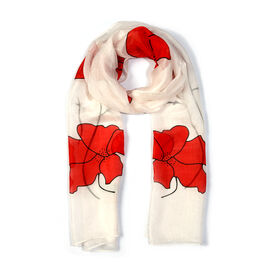 100% Mulberry Silk Red Colour Poppy Flower  White Colour Scarf (Size 180X50Cm)