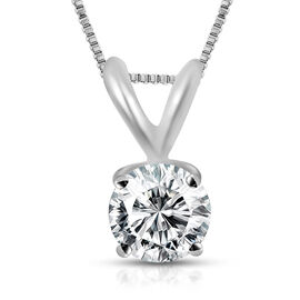 ILIANA 18K White Gold IGI Certified (SI2/H) Diamond (Rnd) Pendant with Chain 0.500 Ct.