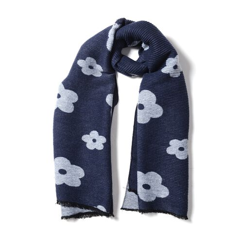 Designer Inspired-Navy Blue and Grey Colour Plum Blossom Flower Pattern Scarf (Size 200x65 Cm)
