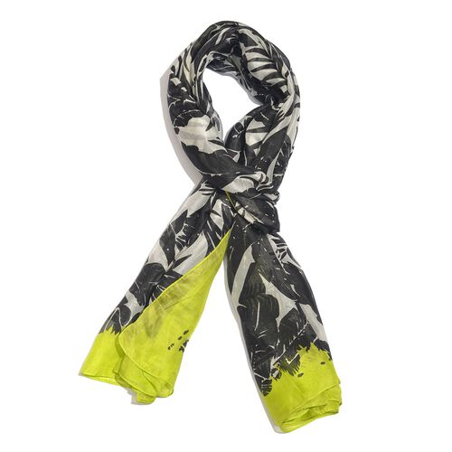 100% Mulberry Silk Lemon Yellow, Black and White Colour Handscreen Leaves Printed Scarf (Size 200X17
