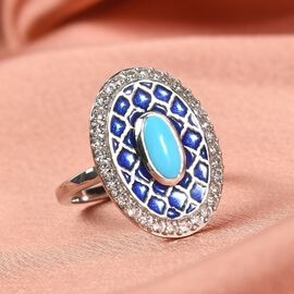 Arizona Sleeping Beauty Turquoise and Natural Cambodian Zircon Enamelled Ring in Platinum Overlay Sterling Silver 1.100 Ct.