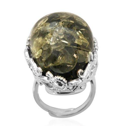 Signature Collection- Baltic Green Amber (Ovl 18x29mm) Adjustable Ring in Sterling Silver