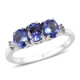 Tanzanite (1.00 Ct) and Diamond Platinum Overlay Sterling Silver Ring  1.000  Ct.